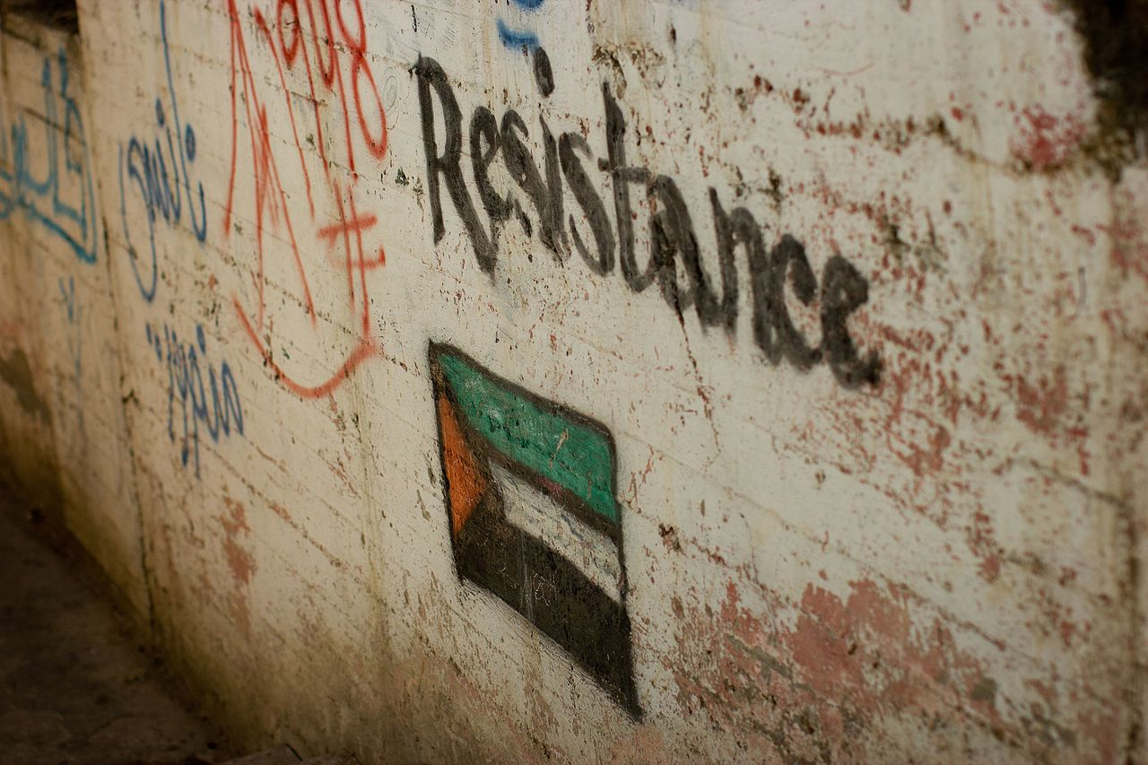 """""""Resistance"""" graffiti in Nablus. Image: Wikimedia Commons/Victorgrigas"""