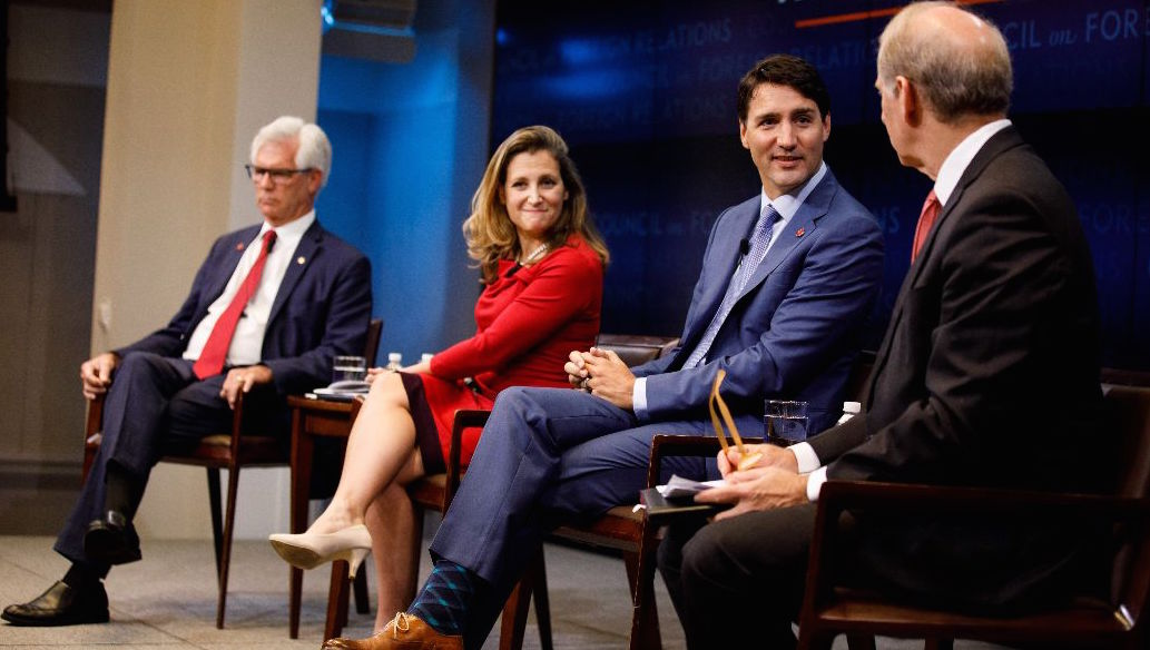 rime Minister Justin Trudeau, Minister Chrystia Freeland and Minister James Gordon Carr take part in a panel discussion. Photo: Adam Scotti/PMO