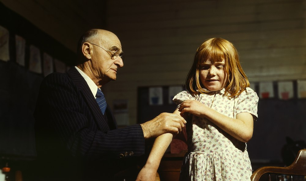 Immunization in 1943 -- Canada had more vaccine production and manufacturing capacity then than now. Image credit: John Vachon/Wikimedia Commons
