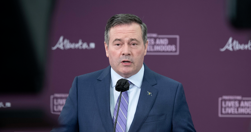 Alberta Premier Jason Kenney at yesterday afternoon's COVID-19 update. Image credit: Chris Schwarz/Government of Alberta/Flickr