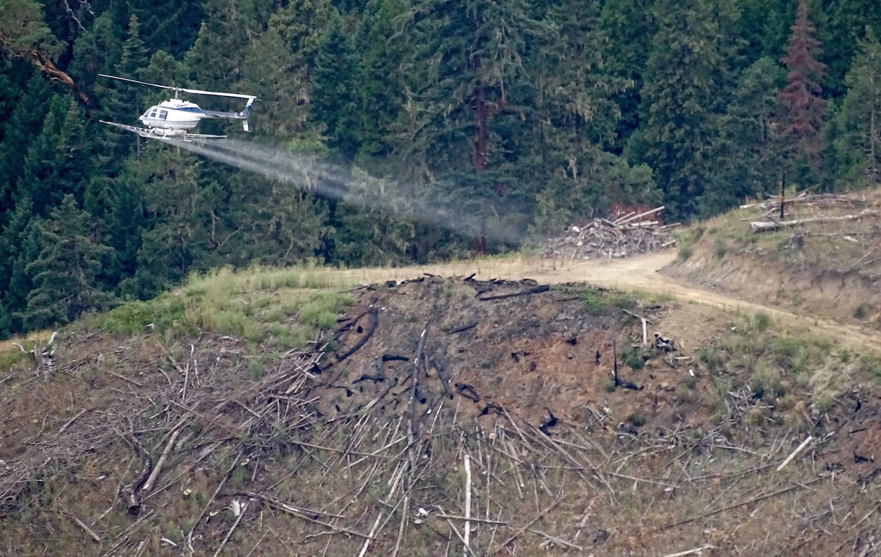Helipcopter aerial sprays herbicides on clearcut land. Image credit: Francis Eatherington/Flickr