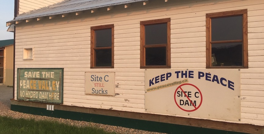 Some anti-Site C signage on the Boon family's farm. Image: Ken Boon/Used with permission
