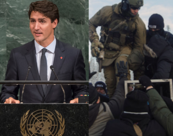 Photos:Prime Minister Trudeauaddresses the United Nations in September 2016,the RCMPraid Wet'suwet'en territory in January 2019.